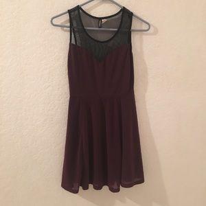 H&M BURGUNDY SHEER DRESS